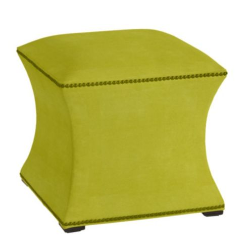 Courbe Ottoman in Chartreuse Velvet - Stocked