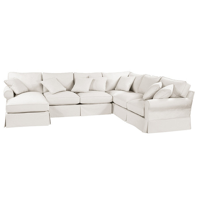 Superbe Baldwin 4 Piece Sectional With Left Arm Chaise Slipcover   Special Order  Fabrics