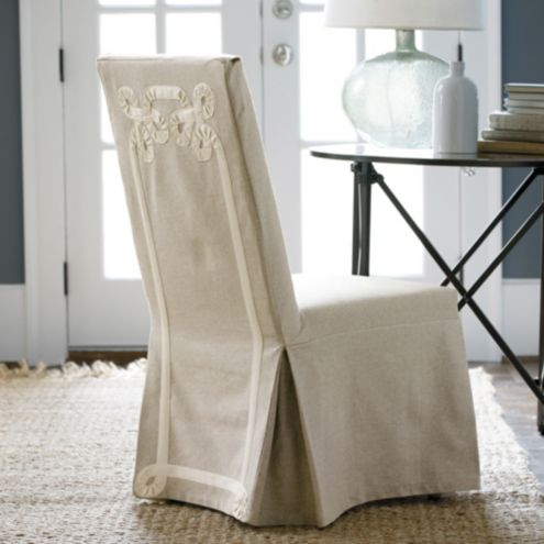 Parsons Chair Slipcover with Twirls Tape Ribbon