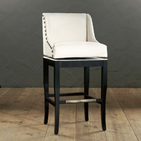 Marcello Barstool with Brass Nailhead Trim